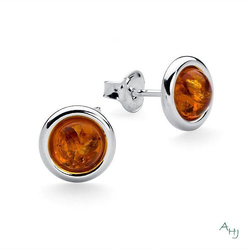 Baltic Amber and Silver simple stud earrings
