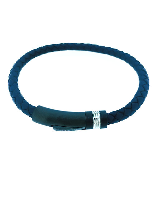 Blue Leather bracelet with gunmetal IP plate clasp
