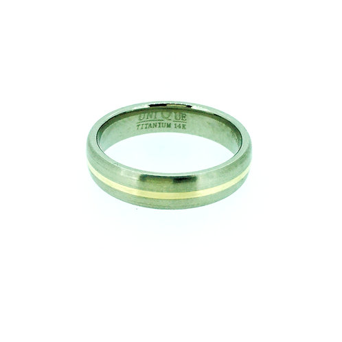 Titanium with gold inlay ring