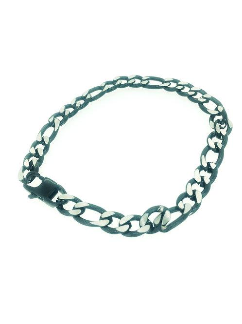 Steel Figaro bracelet with black IP plate