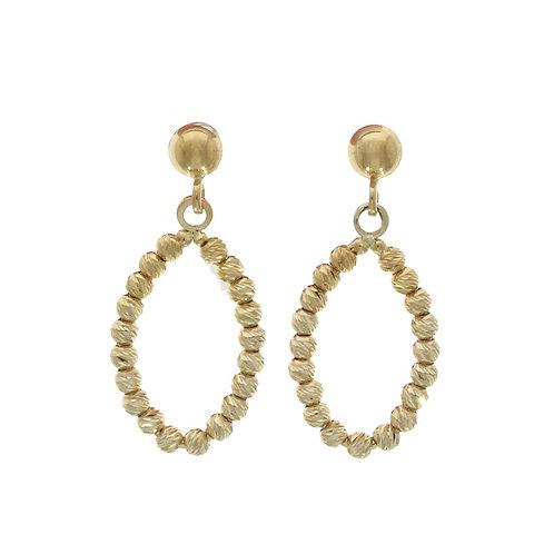 Diamond cut bead oval gold drop earrings