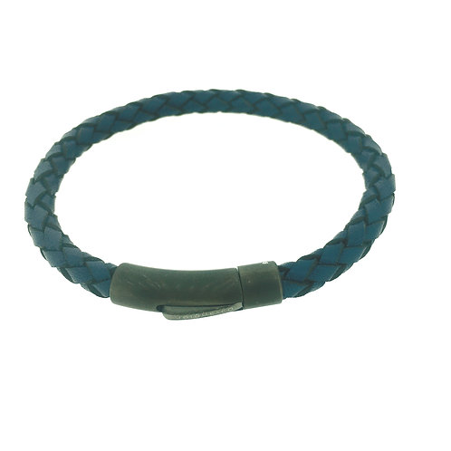 Blue Leather bracelet with matte gunmetal IP plate clasp