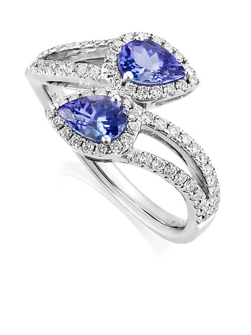 Tanzanite and Diamond Cross over ring