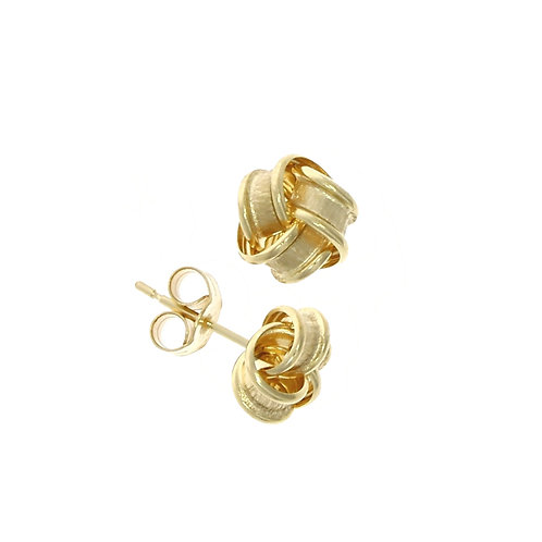 Frosted knot 9ct gold stud earrings