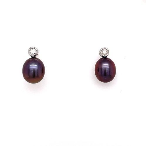 Black Freshwater Pearl and Diamond White Gold stud earrings