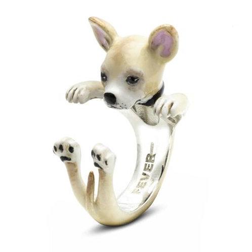 Silver enamelled Chihuahua Hug ring