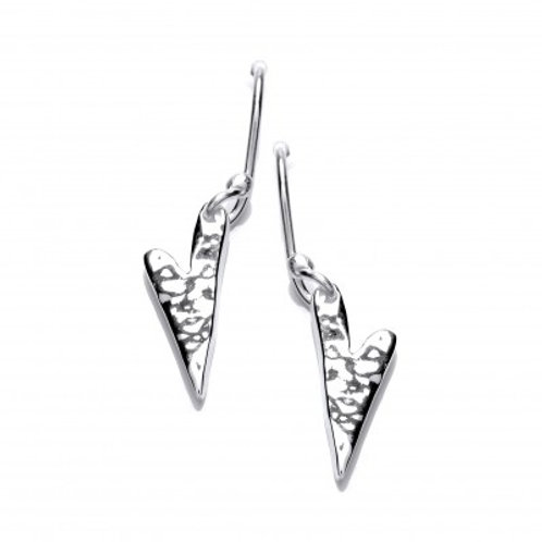 Hammered heart silver drop earrings