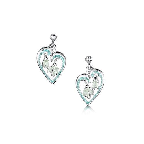 Snowdrop heart earrings
