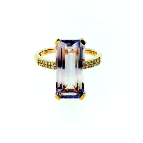 Amethyst and Diamond rose gold Statement ring