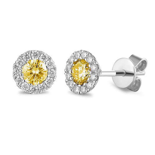 Citrine and Diamond halo white gold earrings