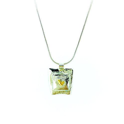Irregular Square with Heart pendant