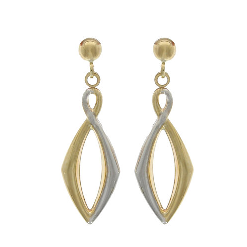 Angular Figure of Eight bicolour gold drop earrings
