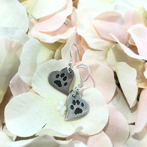 Silver Precious paws Drop Melting Heart earrings