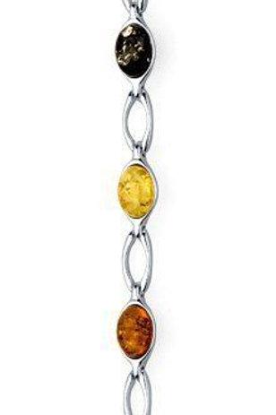 Mixed Amber Oval link bracelet