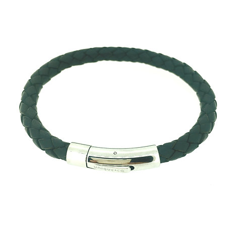 Navy Blue Leather bracelet with steel clasp