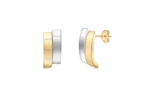 Double Curved Bar two-tone gold stud earrings