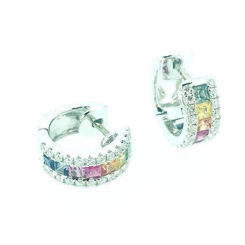 Rainbow Sapphire and Diamond 18ct White Gold Bar huggie hoop earrings
