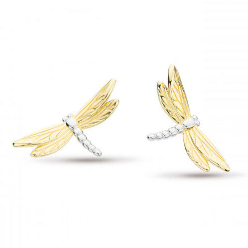 Blossom Flyte Dragonfly silver with gold plated stud earrings