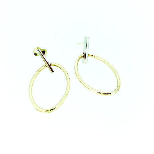 Bar and Oval 9ct gold drop earrings