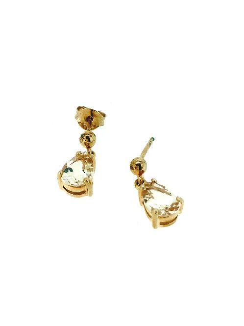 Morganite peardrop rose gold earrings
