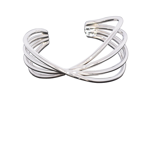 Four way twist silver cuff bangle