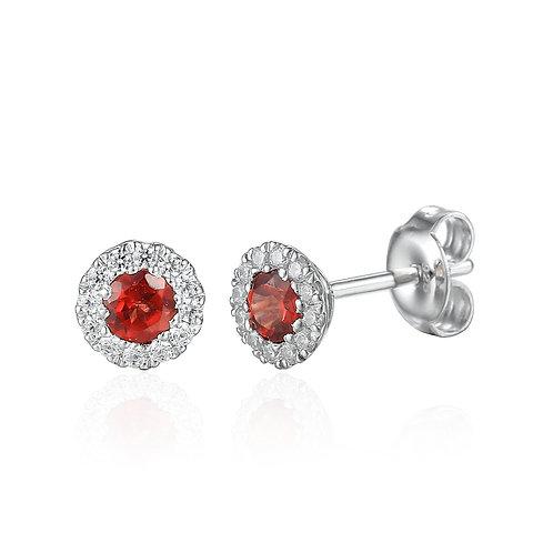 Garnet and Diamond halo stud earrings
