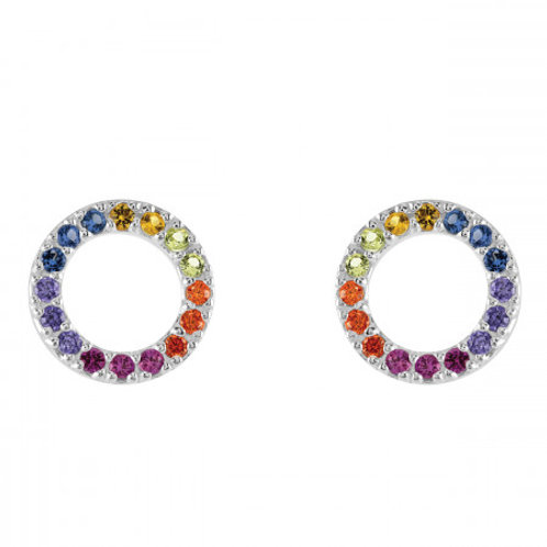 Rainbow CZ Open Circle stud earrings