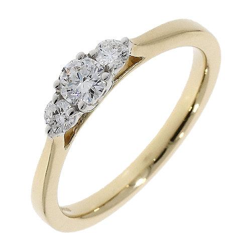 Diamond trinity ring 18ct yellow gold