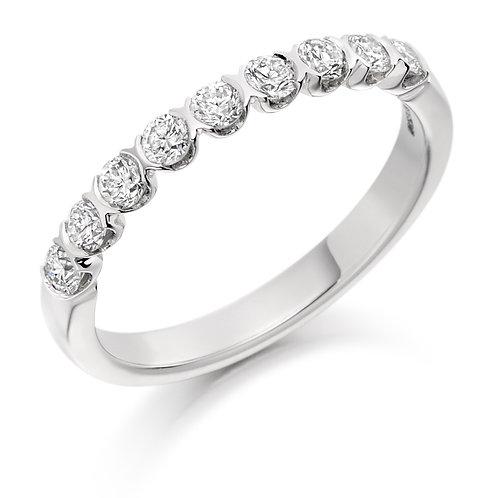 Bar set Diamond 0.50ct half Eternity ring