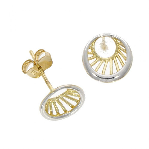 9ct White gold circle studs with 9ct yellow gold line detail