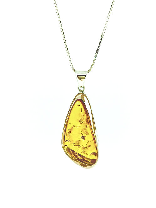 Large Amber and Silver pendant