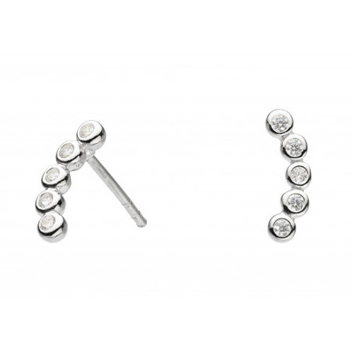 Curved CZ silver stud earrings