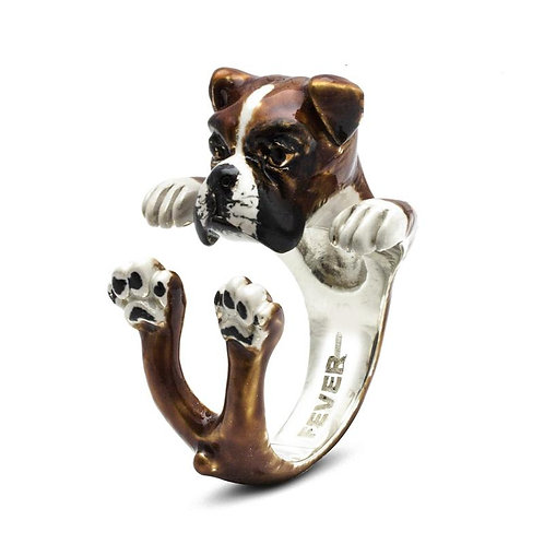 Silver enamelled Boxer Hug ring