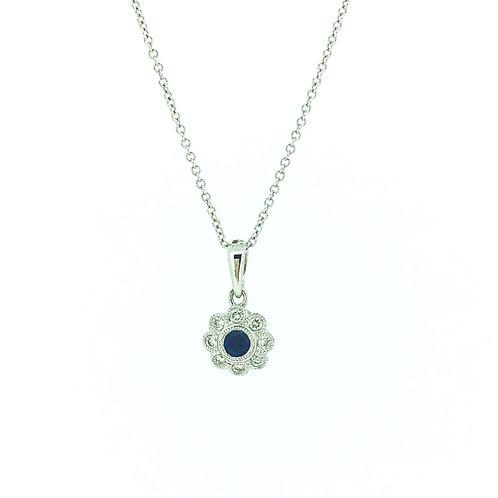 Sapphire and Diamond milgrain pendant