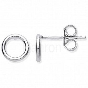 Small Circle Tube Silver stud earrings