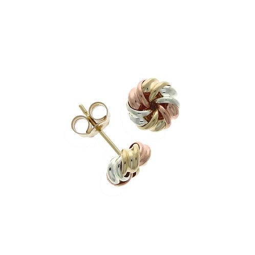 Tricolour fancy knot earrings