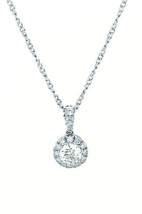 Diamond Round Cluster White Gold pendant