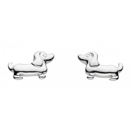 Dinky Charming Sausage Dod silver stud earrings
