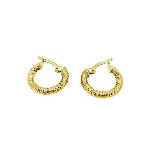 Rose gold textured hoop earrings