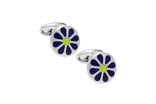 Daisy enamel and silver cufflinks