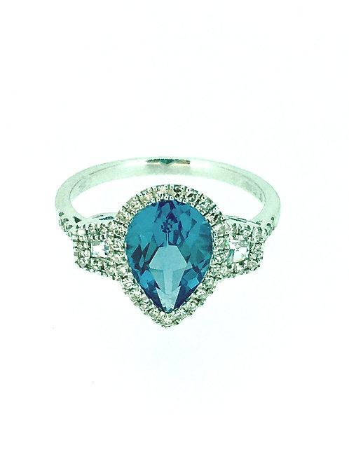 London Blue Topaz Statement Halo ring