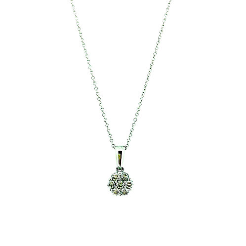 Diamond Cluster gold pendant