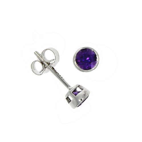 Amethyst and white gold stud earrings