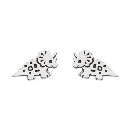 Triceratops silver stud earrings