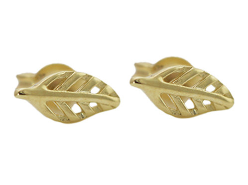 Delicate leaf gold stud earrings