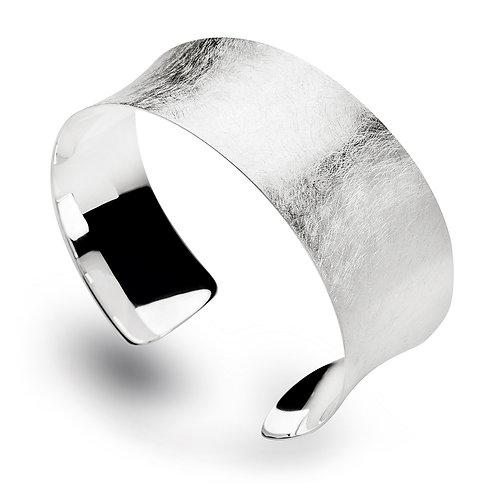 Scratch matte silver bangle