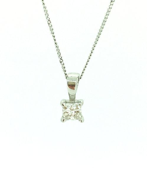 Diamond solitaire white gold pendant