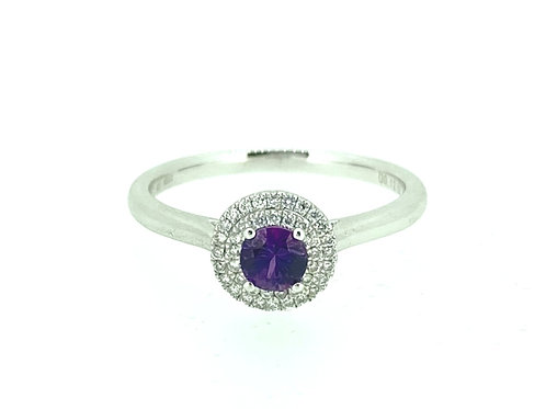 Purple Sapphire and Diamond Double Halo ring