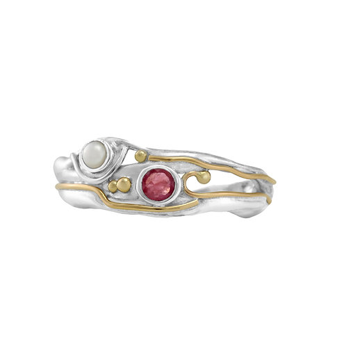 Ruby and Pearl silver ring
