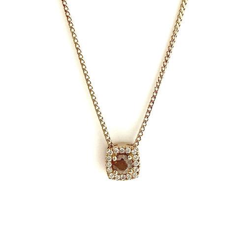 Chocolate Diamond Halo 18ct Rose gold pendant